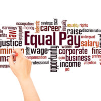 Equal pay word cloud and hand writing concept