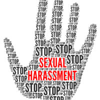 Stop sexual harassment hand print