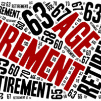 Word cloud illustration related to retirement age