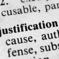 page that reads Justification