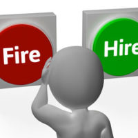 Buttons that read hire and fire