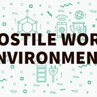 hostile work environment sign illustration