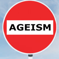 Ageism no entry road sign