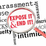 "Magnifying glass zooms in on words, ""Expose it and End it!"" to illustrate the need to take prompt remedial action towards sexual harassment claims"
