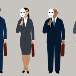 group of employees holdiing masks
