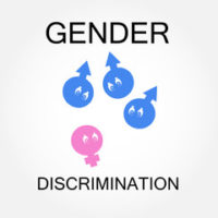 Sign that reads gender discrimination - as presented in a court case where a worker's termination is motivated by his discrimination against women
