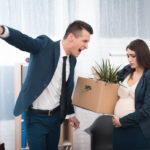boss screams and fires sad pregnant girl with stuff box in office