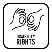 Disability rights sign shown in sign language