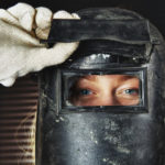 Female welder