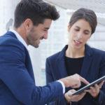 boss talks to employee worker