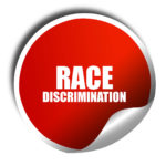 Racial Discrimination White text over red sticker button