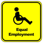 disabled wheelchair sign with caption equal employment
