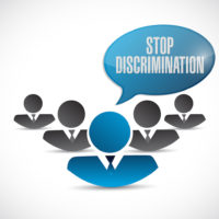 stop discrimination speech bubble above working people symbols