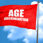 age discrimination, 3D rendering, a red waving flag