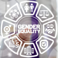 Business Gender Equality Work concept. Male Equals Female. Equal Pay, Salary, Fairness, Justice and Emancipation. Businesswoman clicks on a gender equality words surrounded by specific icons.