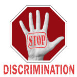 Stop discrimination conceptual illustration. Open hand with the text stop discrimination