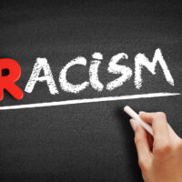 Racism text on blackboard, social concept background
