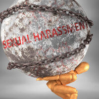 Sexual harassment and hardship in life - pictured by word Sexual harassment as a heavy weight on shoulders to symbolize Sexual harassment as a burden, 3d illustration
