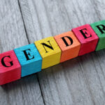 word gender on colorful wooden cubes