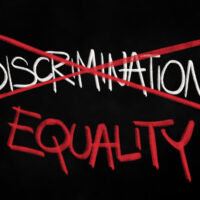 Change from Discrimination to Equality - unequal favouritism and privileging is stopped and avoided. Handwritting illustration