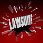 Lawsuit Word Smashing Glass Sue Claim Court Damages