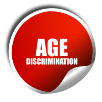 age discrimination, 3D rendering, red sticker with white text