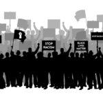 demonstration anti Racism protester, people hold anti racism banner, black lives matter, Stand up for racism. stop racism demonstration flat design vector illustration