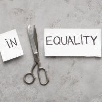 Word Inequality cut with scissors to two parts