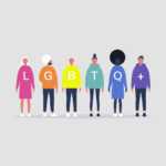 LGBTQ+ sign. LGBT movement. Queer. Gay. Lesbian. Homosexual characters. Diversity. Pride parade. Rainbow. Transgender. Bisexual. Pansexual. Intersexual. Asexual. Millennials. Modern lifestyle