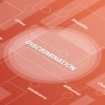 discrimination concept words isometric 3d word text concept with some related text and dot connected - vector