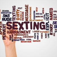 Sexting word cloud and hand with marker concept