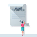 Woman writes a statement about sexual harassment vector