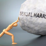 Sexual harassment and painful human condition, pictured as a wooden human figure pushing heavy weight to show how hard it can be to deal with Sexual harassment in human life, 3d illustration