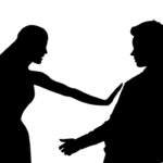 Female silhouette defending against sexual harassment of male silhouette isolated on white background. Slut-shaming, glass ceiling, victim-blaming and discrimination social issues vector illustration.