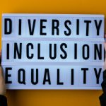 Diversity inclusion equality lettering. Text. Diversity, Age, Ethnicity, Sexual Orientation, Gender, Religion. Equal rights social concept.