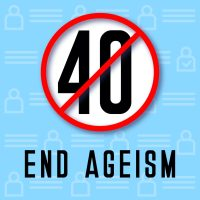 Stop ageism. And age discrimination in workplace. Stop negative age stereotypes. Vector illustration