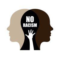 No racial discrimination campaign design. Social movement motivate against stop racism. Vector illustration